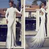 SA10268 Mermaid long tail 2014 long sleeves muslim bridal wedding dress