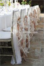 Fashionable design wholesale blush chiffon ruffled wedding chair cover sash with hood