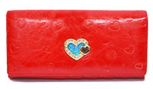 Pu emboss effects mighty wallets for women, brand name purses, nice ladies clutch wallet with card holder and zip pocket as gift