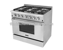 "36"" household kitchen burning gas cooking range with oven/6burners"