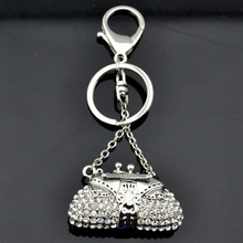 Rhinestone handbag initial keychain