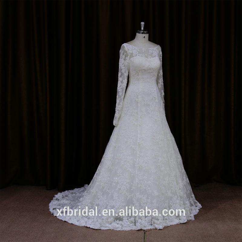 Fotos reais de classe alta tradicional de manga muçulmano vestido de noiva