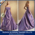 Fetching Ruffle Strapless Side Pleated Long Train Lavender Wedding Dress