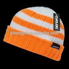 2104 fashion knitted acrylic stripe cuffed ribbed plain ski hat
