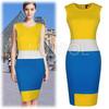 Womens New Contrast Colors Striped Sasual Bodycon Pencil Tea Dresses