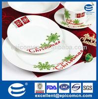 normal white porcelain tableware 16pcs set christmas dinnerware ceramics with simple christmas words tree snow