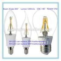 Good price 2700k 360 degree led filament e27 silver coating bulb