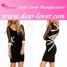 2014 Hot Sale Fashion Mesh Cross Back Sexy Bodycon Dress
