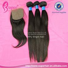 Futura hair extension/virgin unprocessed brazilian hair wholesale/3 bundles and silk base closure
