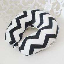 Manufacture direct customized plain fashion designs digital printed soft chevron U-shape pillow