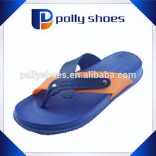 Wholesale eva men custom logo printed blue sole beach/slipper/flip flops