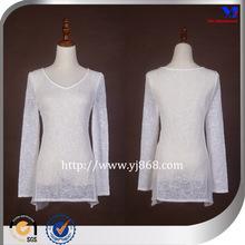 2015 v neck see through chiffon splicing white long sleeve women summer wear t shirt