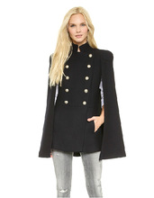 2014 Women Coat Army Style Double-breasted Cover Shawls Vest Blended Texture Cape coat
