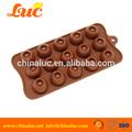Bicarbonato de silicone molde de decoração do bolo do silicone molde marrom 15- cavidade redonda bala molde de silicone de chocolate
