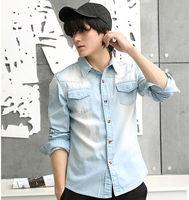 Fancy Denim Men Button Fashion Long Sleeve Designer Water Washed Blue Shirts For Men Wholesale