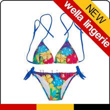 WELLA LINGERIE hot sexy bikini Floral Print girl in transparent bikini
