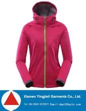 Outdoor functional slim fit hoody womens softshell jacket fleece lined