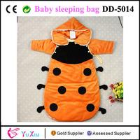 Velour and viscose imitated silk floss filling hooded ladybird baby boy sleepsacks