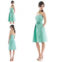2014 New Arrival Mint Green Sweetheart Knee Length Short With Handmade Flower Cheap Bridesmaid Dresses Free Shipping ZBD-248