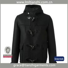 black New Fashion Woolen Men's Trench Coat