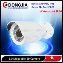 Waterproof bullet 720p poe p2p outdoor onvif full hd ip webcamera with h.264