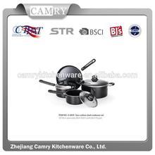 7 pcs non-stick steel cookware set, black