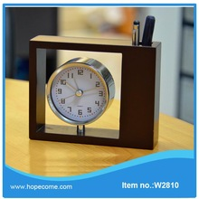 (W2810)2014 innovative wooden case with clock stationery case