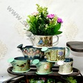 Pintados à mão metal balde, mini balde, vaso de flores