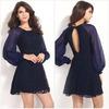 2015 Autum Wear Women Dress Dark Blue Lace Novelty Mini Ladies Dresses/Casual Evening Dress Sexy Party Dress/Ladies Clubwear