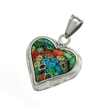 Big heart shaped colorful murano stone stainless steel millefiori glass pendant hollow glass pendants wholesale pendant LP3426