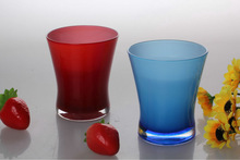 2014 HOT SALE Cheap Clear Glass Water Cup spray colored wild mouth bottle wholesale