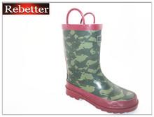 Cute camo design kids wellington boots rubber rain boots for children