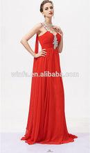 Dama de honor vestidos de un hombro que fluye playa de la gasa de la boda vestido de europa