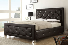 leather bed, leather bed with crystals, white leather bed