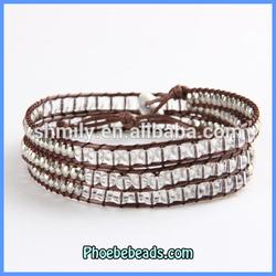 Wholesale Fashion 6mm Crystal Leather Three Beaded Wrap Bracelets PCLB-C018