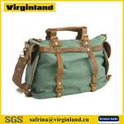 New Fashion Vintage Canvas and Leather Women Messenger Bag Korea Fashion Ladies Handbag with Metal Zipper Closure