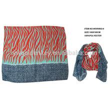 100% polyester zebra printed scarf for spring summer 2015