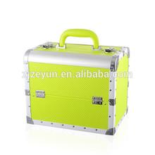 leather aluminium lighted makeup train case price of makeup kit box