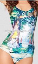 2014 black milk series Alice in Wonderland One-piece swimsuit Sleeve Swimsuit swimming suit SW011