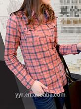2014 Womens shirt/Women's plaid shirt/Girls' clothing wholesale