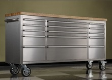 72 inch hot metal tool chest with wooden top