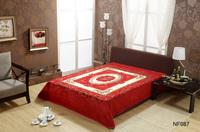 2014 new design polyester printed solid and soft coral velvet fleece Raschel bed blanket