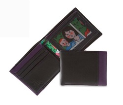 Men's real leather thin wallet with photo holder