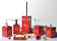 Chinese traditional red bamboo Bath Bathroom Accessories Set, wedding bathroom decoration set