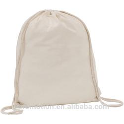 4.5oz natural environmentally friendly Cotton Drawstring Bag with metal eyelets and cotton string