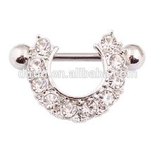 14ga Surgical Steel Gem Set Bar Rings Nipple Shield