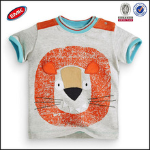 wholesale high quality lovely embroider animal baby t shirt no side seam with mesh studded on the shoulder
