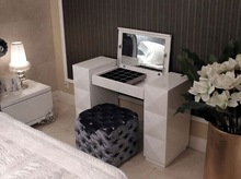 diamond decoration dresser table with stool round soft stool