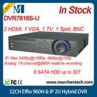 big stock dahua hot sale 32CH DVR7816S-U Effio 960H & IP 2U Hybrid DVR 8 SATA HDD up to 32TB