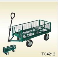 Folding Towing Metal Wagon Nursery Landscaping Cart TC4212